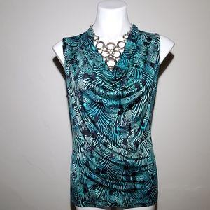 Worthington Green & Black Zebra Print Blouse